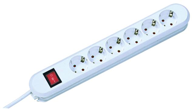 Steckdosenleiste, 6fach mit Schalter, wiederanschl.